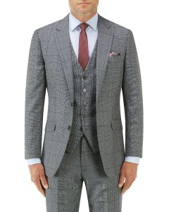 Tudhope Slim Suit Jacket Blue Check
