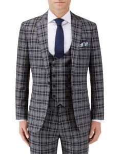 Kiefer Slim Suit Jacket Black / Grey Check