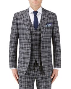 Kiefer Tailored Suit Jacket Black / Grey Check