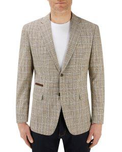 Bardem Linen / Cotton Blend Jacket Fawn Check