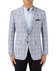 Soncini Linen Blend Jacket Blue Check