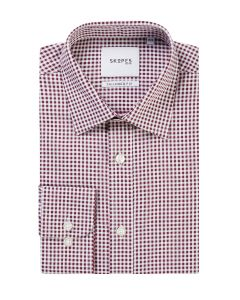 Tailored Formal Shirt Wine Gingham