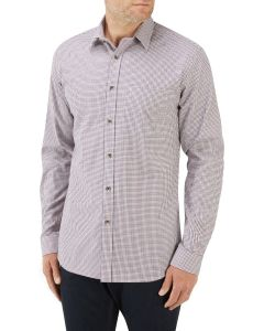 Navy Wine Mini Check Casual Shirt