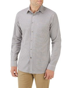 Blue Brown Mini Check Casual Shirt