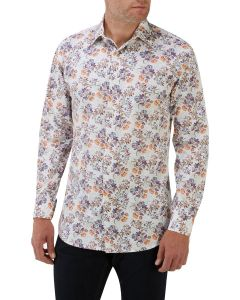 Purple Rust Floral Print Casual Shirt