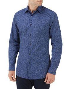 Navy Paisley Print Casual Shirt