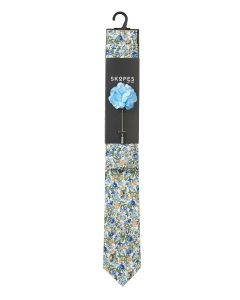 White / Blue / Yellow Floral Design Cotton Tie And Pocket Square