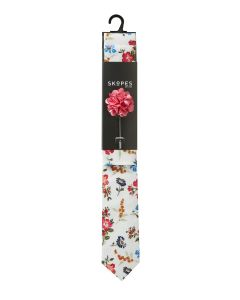 White / Red / Blue Daisy Flower Cotton Tie And Pocket Square