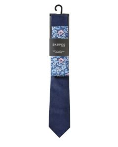 Navy Textured Floral Silk Tie and Pocket Square