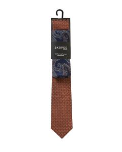 Rust Spot Navy Paisley Silk Tie and Pocket Square