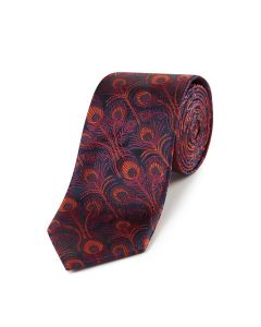 Navy Orange Peacock Silk Tie