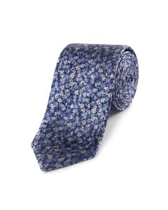 Navy Blue Micro Flower Silk Tie