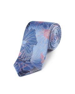 Dusky Blue / Pink Floral Silk Tie