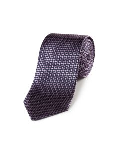 Navy / Pink Cross Hatch Silk Tie