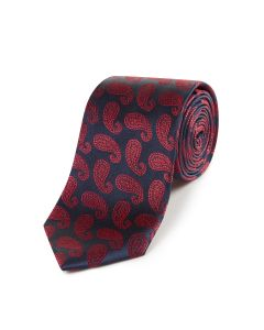 Navy with Red Paisley Silk Tie