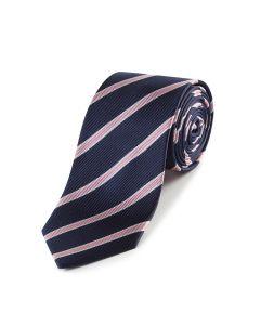 Navy / Pink Stripe Silk Tie