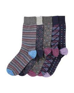 Purple Blue Pattern 5 Pack Socks