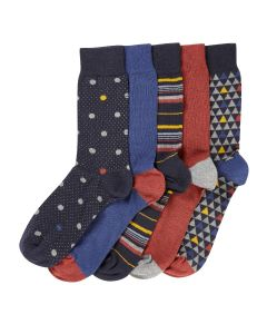 Navy Rust Pattern 5 Pack Socks