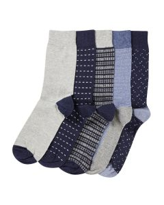 Navy Grey Pattern 5 Pack Socks