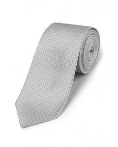 Silver Textured Silk Tie