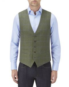 Elgin Waistcoat Olive Check