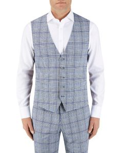 Stark Suit Waistcoat Grey / Blue Check