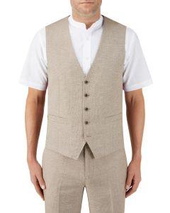Lagasse Linen Blend Suit Waistcoat Stone