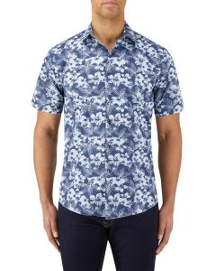 Navy Blue Floral Print Casual Shirt