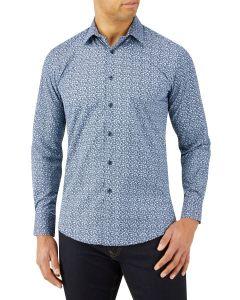 Navy Blue Tiny Floral Print Casual Shirt