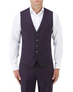 Mac Suit Waistcoat Navy / Wine Check