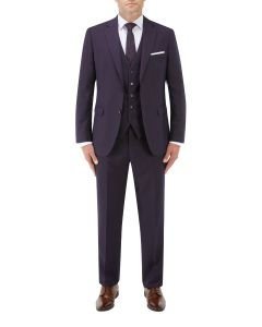 Mac Slim Suit Navy / Wine Check