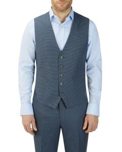 Fermo Suit V-Waistcoat Blue Micro Check