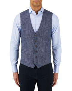 Rugani Micro Weave Waistcoat Blue
