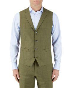 Moonen Suit Waistcoat Olive Check