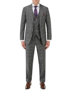 Tudhope Slim Suit Charcoal Check
