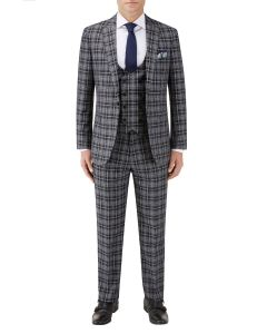 Kiefer Slim Suit Black / Grey Check