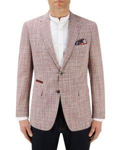 Bardem Linen / Cotton Blend Jacket Coral Check