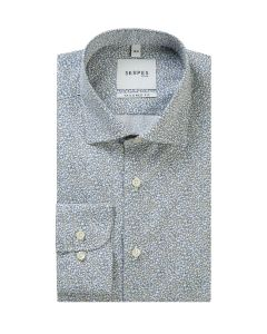 Premium White / Blue Ditsy Floral Formal Shirt