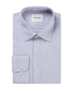 Tailored Formal Shirt Sky White Stripe