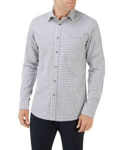 Ecru Navy Mini Check Casual Shirt