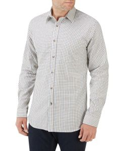 Cream Multi Check Casual Shirt