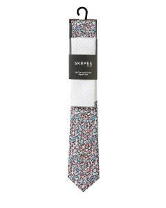 Multi Coloured / Polka Dot Silk Tie and Pocket Square