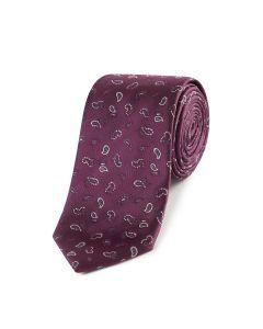 Plum Micro Paisley Tie