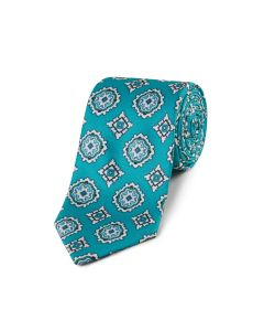 Aqua Large Medallion Design Tie