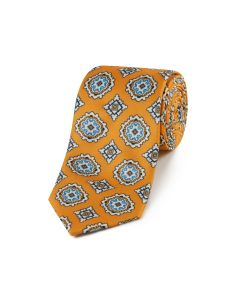 Orange Large Medallion Design Tie