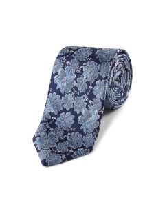 Navy with Light Blue Flower Tie