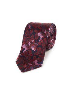Navy / Wine Floral Silk Tie