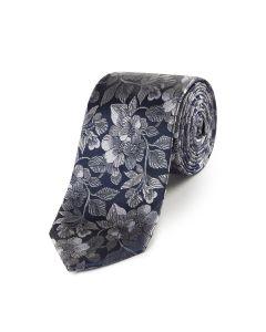 Navy / Silver Floral Silk Tie