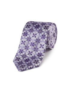Silver / Lilac Geo Flower Silk Tie