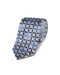 Silver / Blue Geo Flower Silk Tie